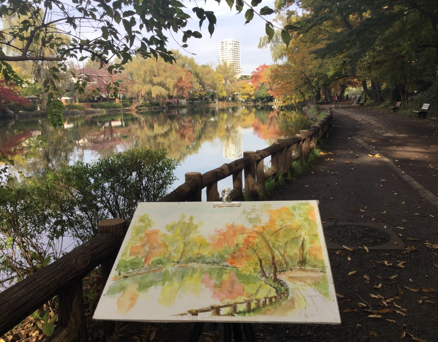 Colored leaves and watercolor