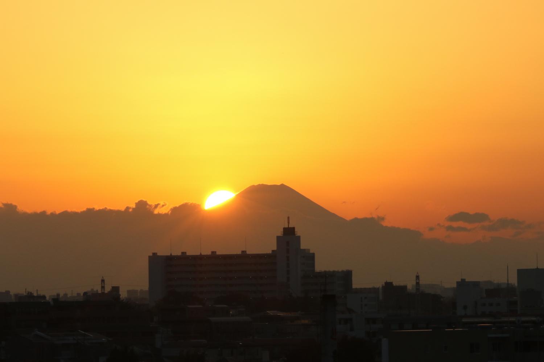 夕阳和富士山