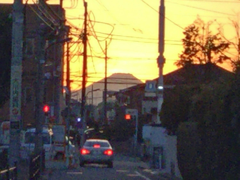 晚霞的富士山