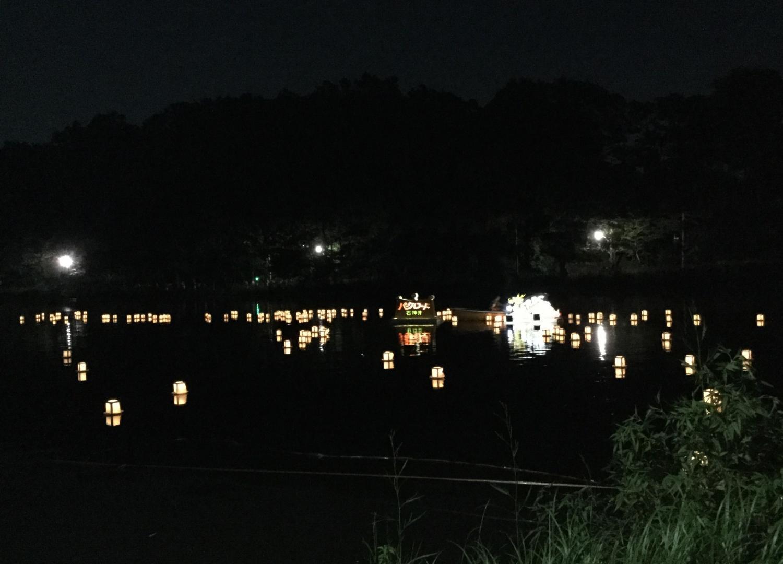 Evening image of floating of lanterns