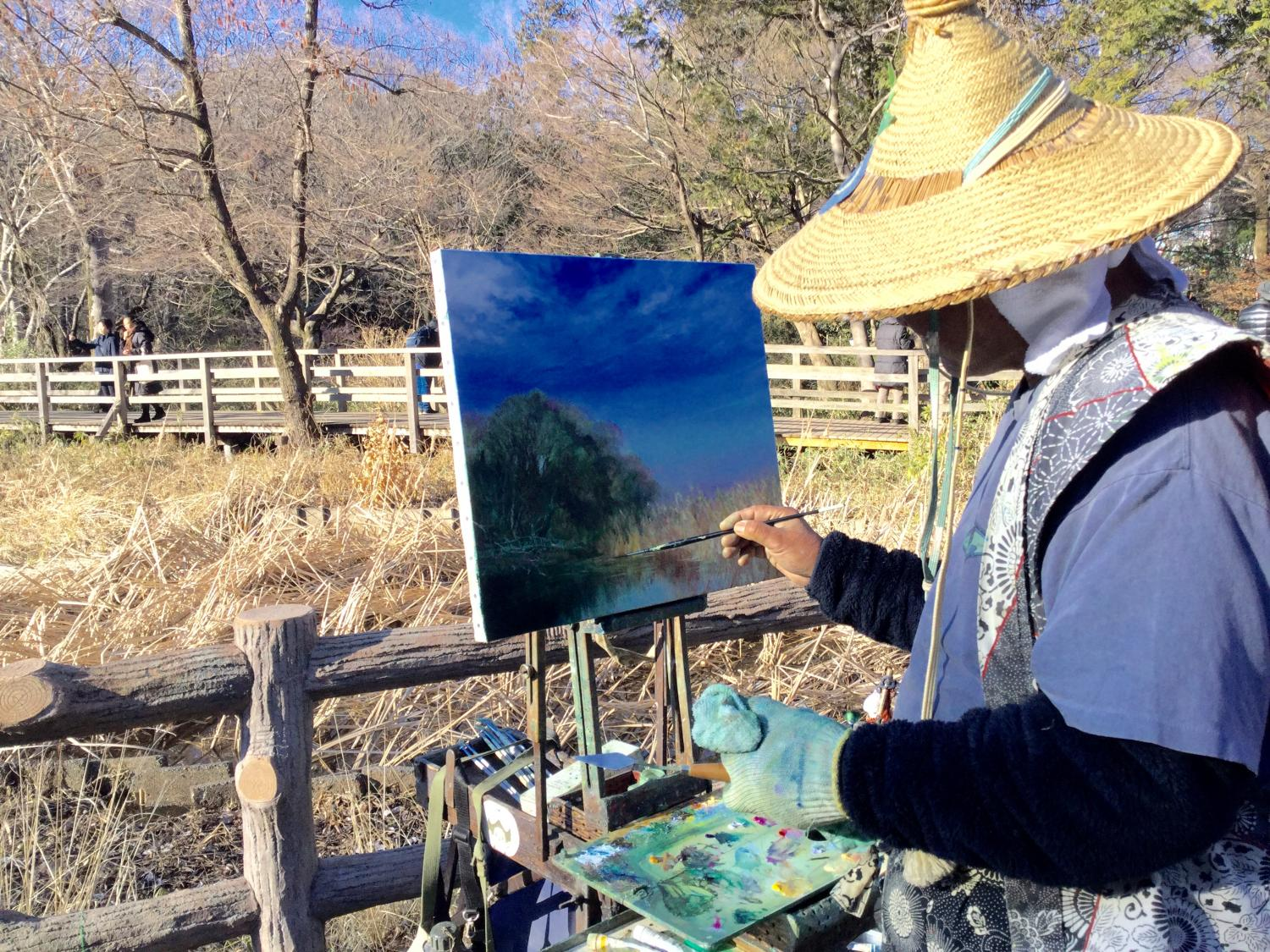 Painter image which loves Shakujii Park deeply