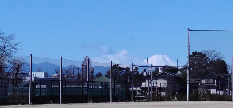 샤쿠지이코엔(B 지구 야구장)에서 보는 눈 후지