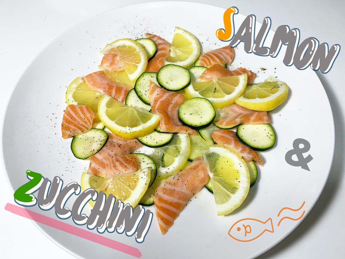 2: Refreshing carpaccio image of fresh and young zucchini and salmon