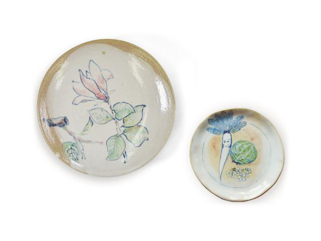 Set of earthenware about flower and vegetables